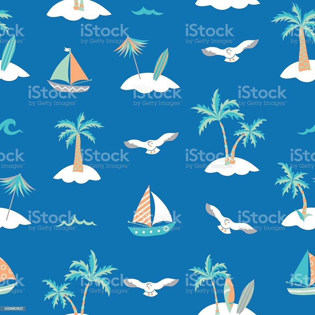 Sea + palm trees + seagulls + boats seamless pattern vector art illustration