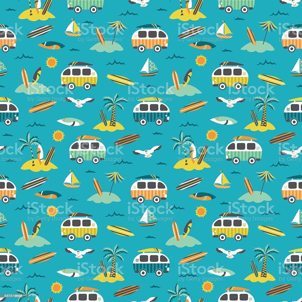 Sea + palm trees + surf buses seamless pattern vector art illustration
