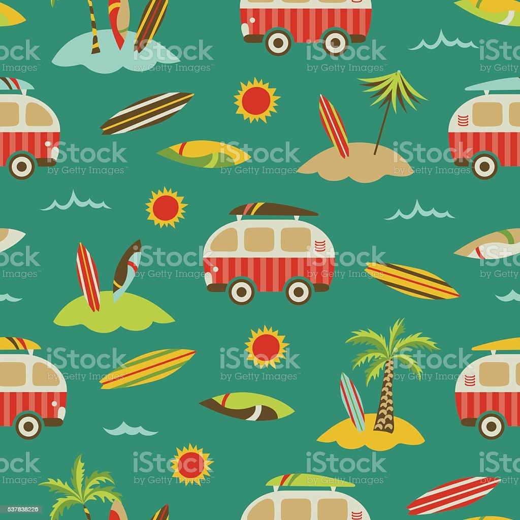 Sea + palm trees + surf buses vintage seamless pattern vector art illustration