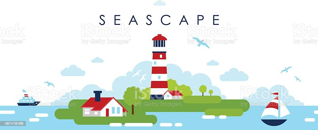 Sea panoramic landscape background with lighthouse in flat style vector art illustration