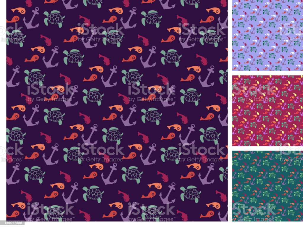 sea  pattern set royalty-free stock vector art