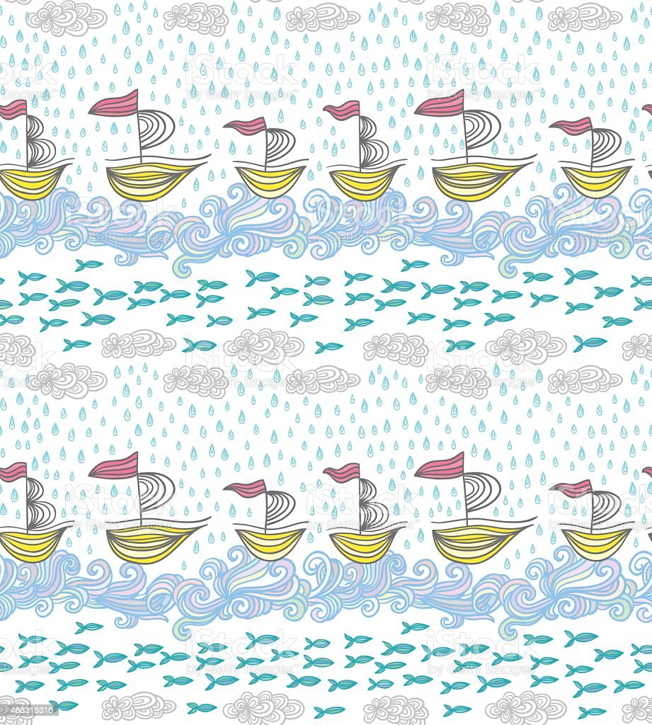 Sea pattern vector art illustration