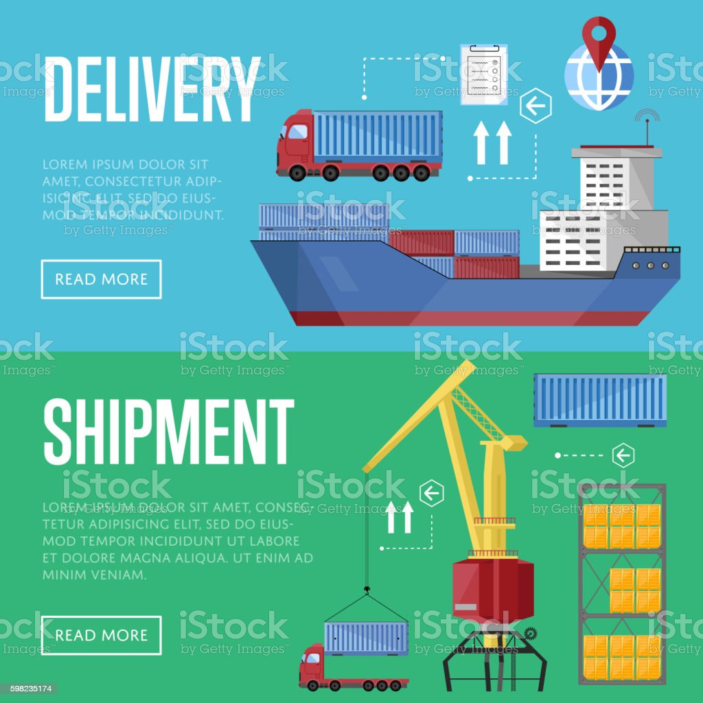 Sea port horizontal banner set vector art illustration