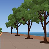 sea promenade with pines and sky