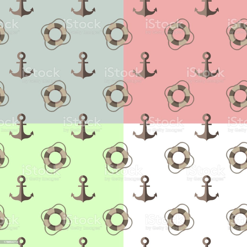 sea seamless pattern with anchors and lifebuoys royalty-free stock vector art