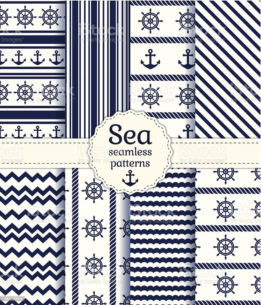 Sea seamless patterns. Vector collection. vector art illustration