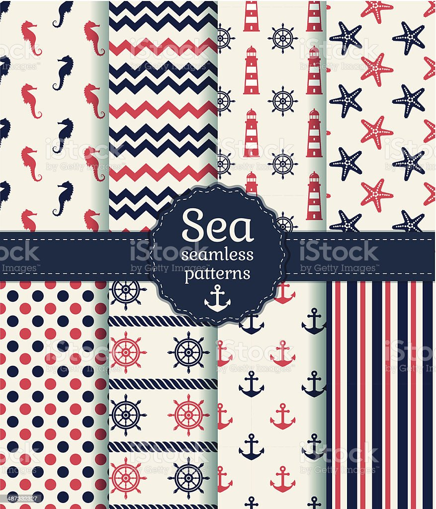 Sea seamless patterns. Vector collection. vector art illustration