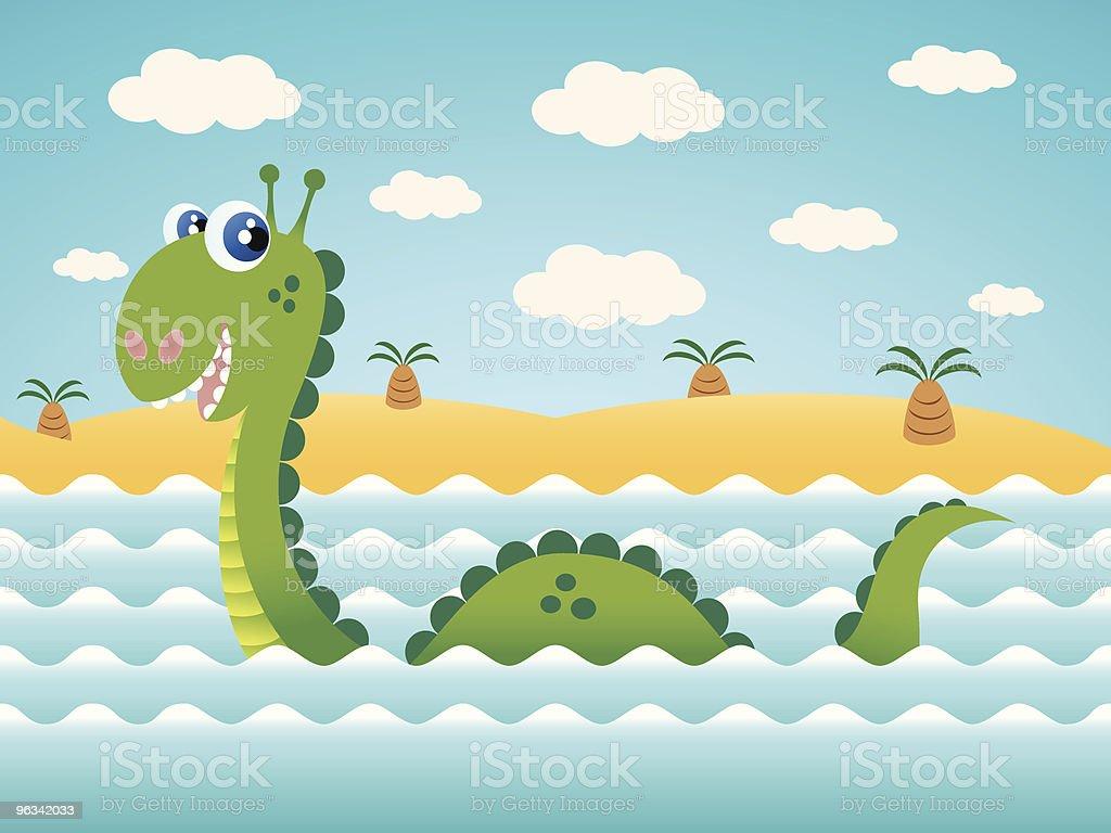 Sea Serpent Vector Cartoon royalty-free stock vector art