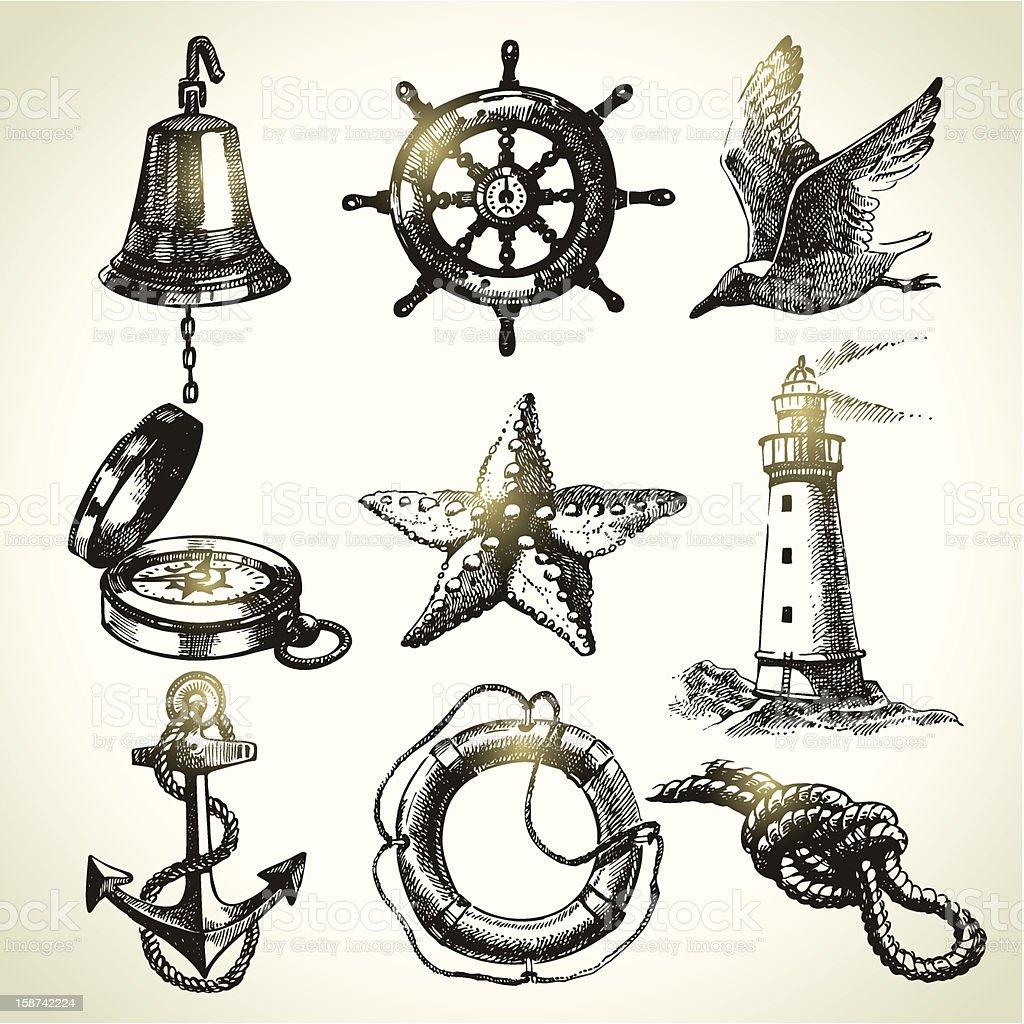 Sea set of nautical design elements royalty-free stock vector art
