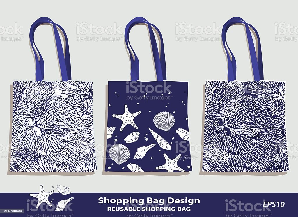 Sea Shell & Coral pattern shopping bag design vector art illustration