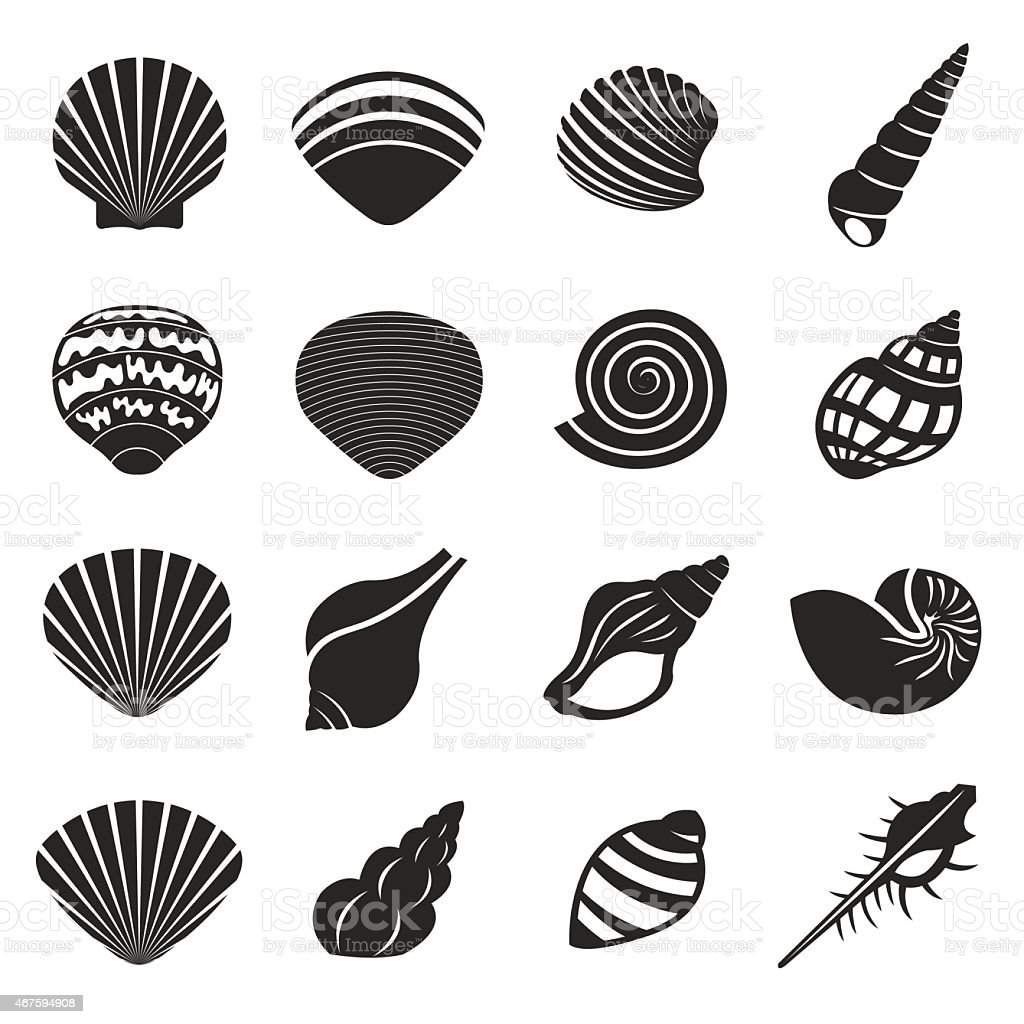 Sea Shell Flat Mono Icons Set vector art illustration