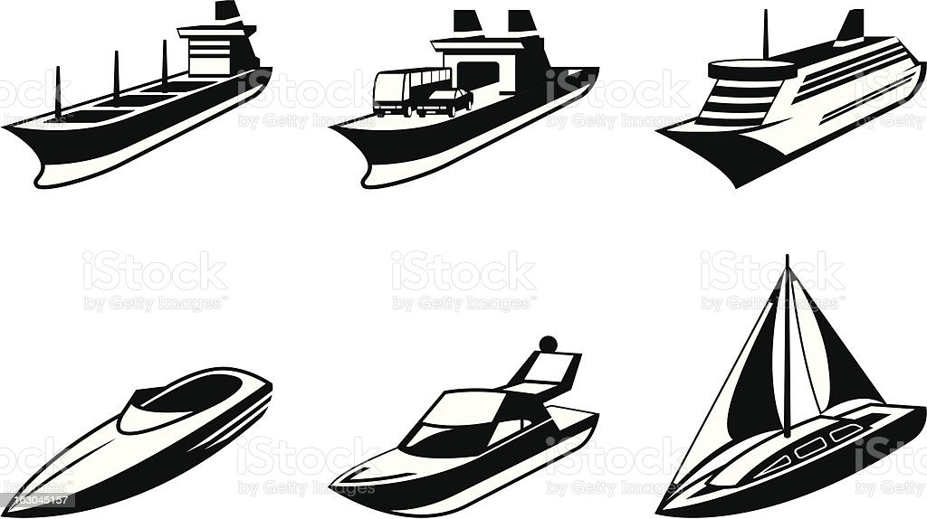 Sea ships and boats in perspective royalty-free stock vector art