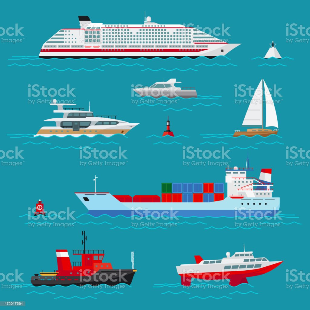 Sea ships flat icons vector art illustration