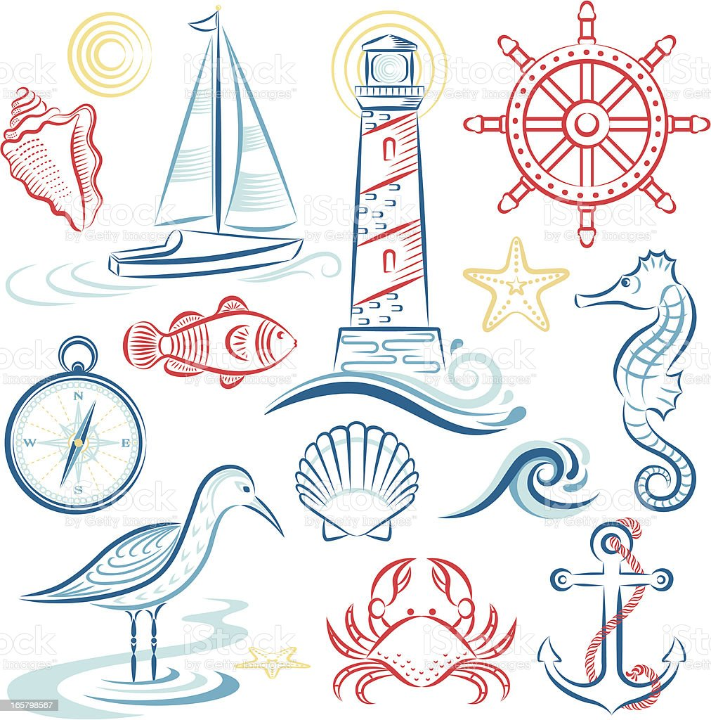 Sea & Shore Set royalty-free stock vector art
