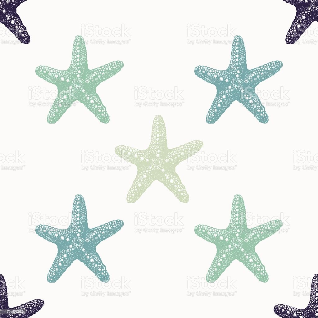 Sea stars of various colors arranged on a white background vector art illustration