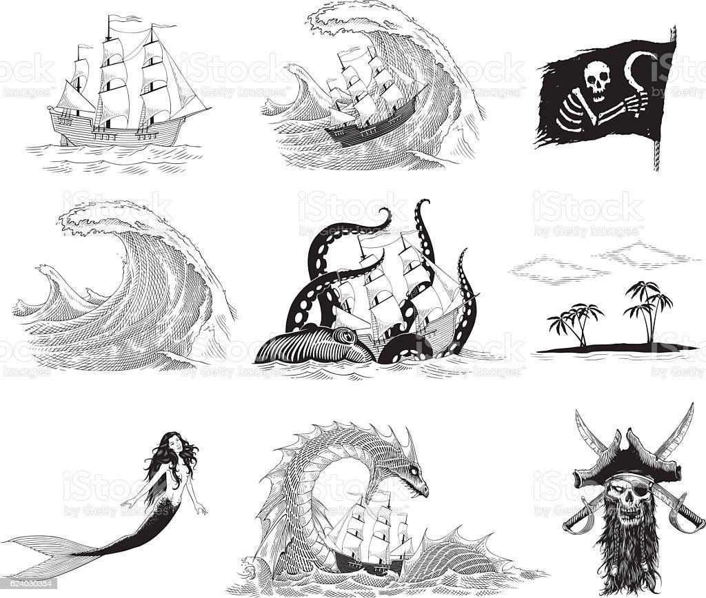 Sea stories vector art illustration