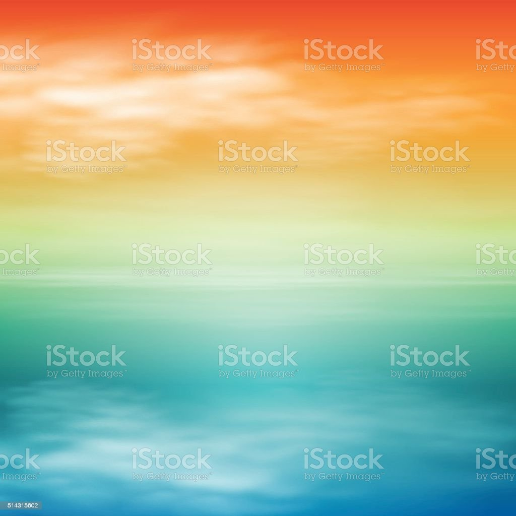 Sea sunset. Tropical background. vector art illustration