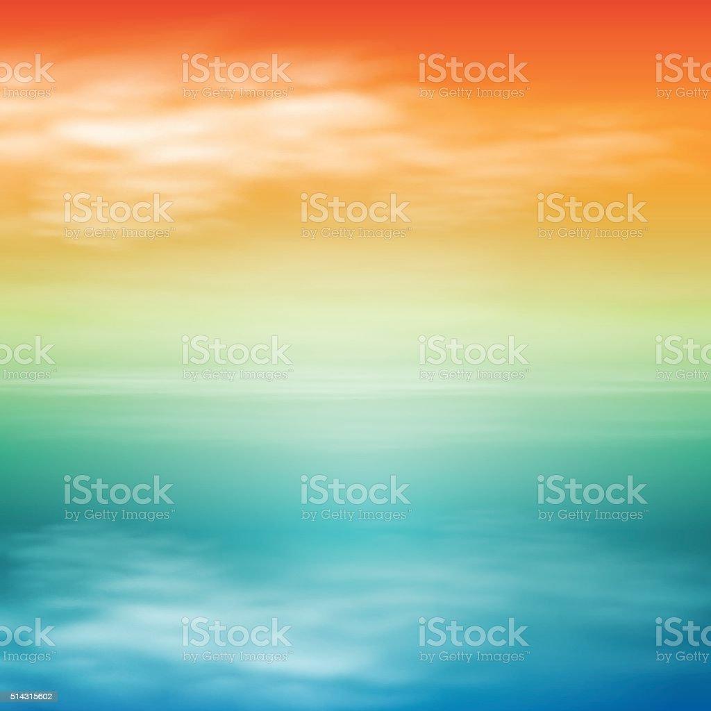 Sea sunset. Tropical background. vector art illustration