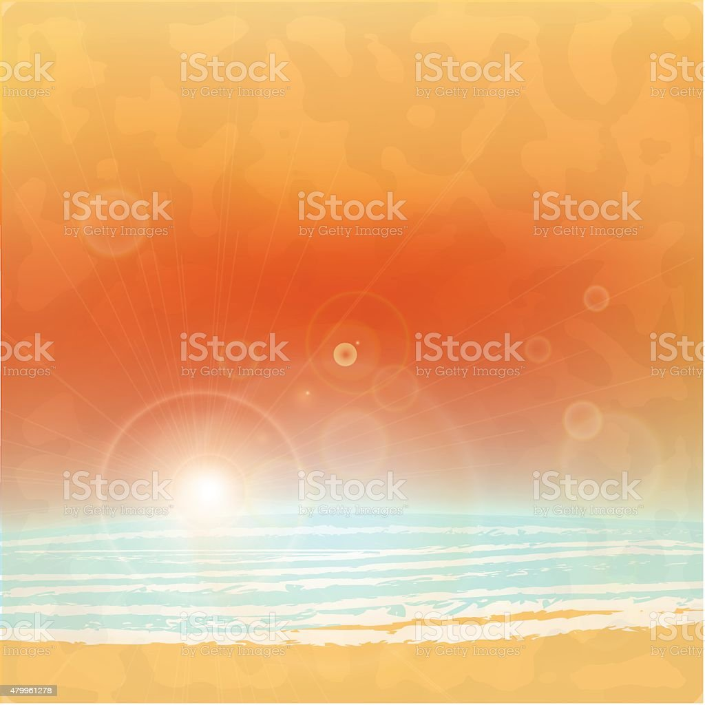 Sea sunset with bright sun, light on lens. vector vector art illustration