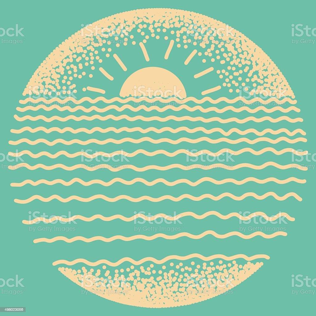 Sea sunset with sun, sea waves and sand. vector art illustration