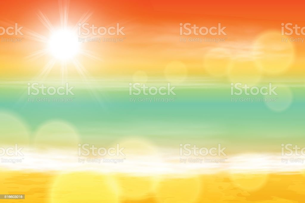Sea sunset with the sun, light on lens vector art illustration