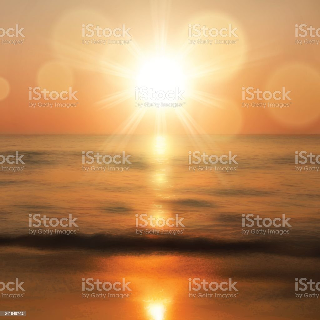 Sea sunset with the sun vector art illustration