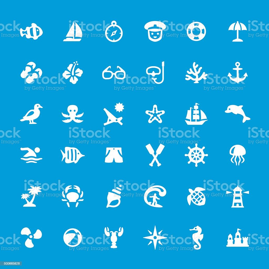 Sea theme and beaches vector icons set vector art illustration