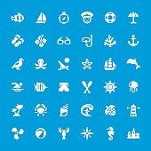 Sea theme and beaches vector icons set