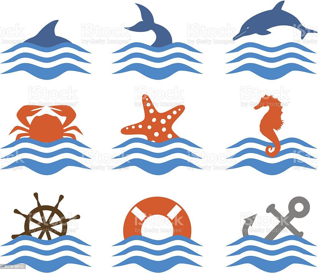 Sea theme icon set vector art illustration