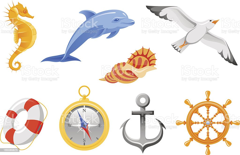 Sea travel icons vector art illustration