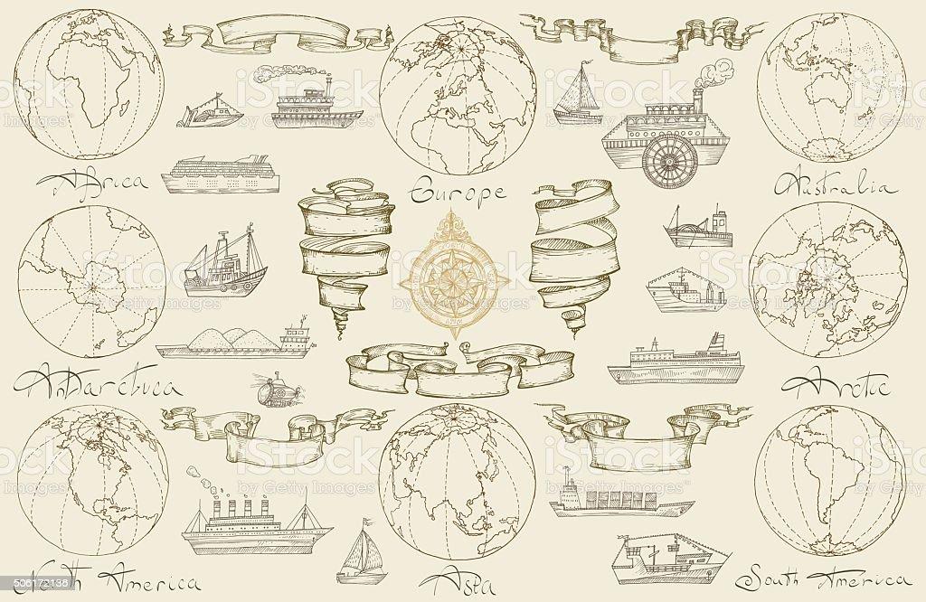 Sea travel with retro ships. vector art illustration