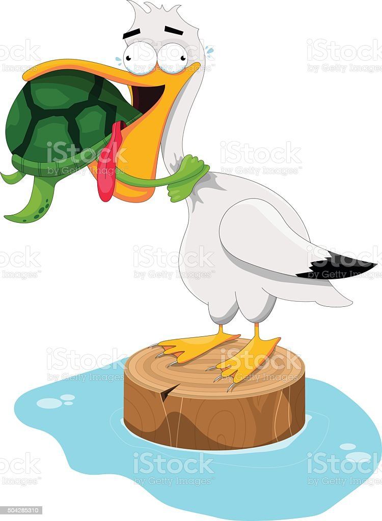 Sea Turtle Choking a Pelican vector art illustration