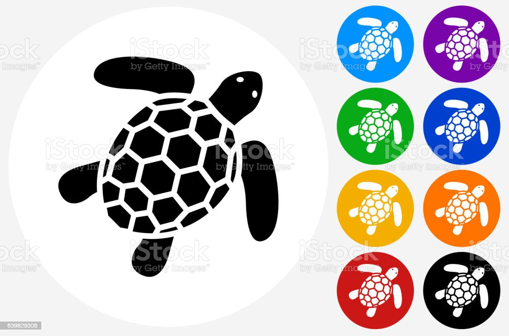 Sea Turtle Icon on Flat Color Circle Buttons vector art illustration