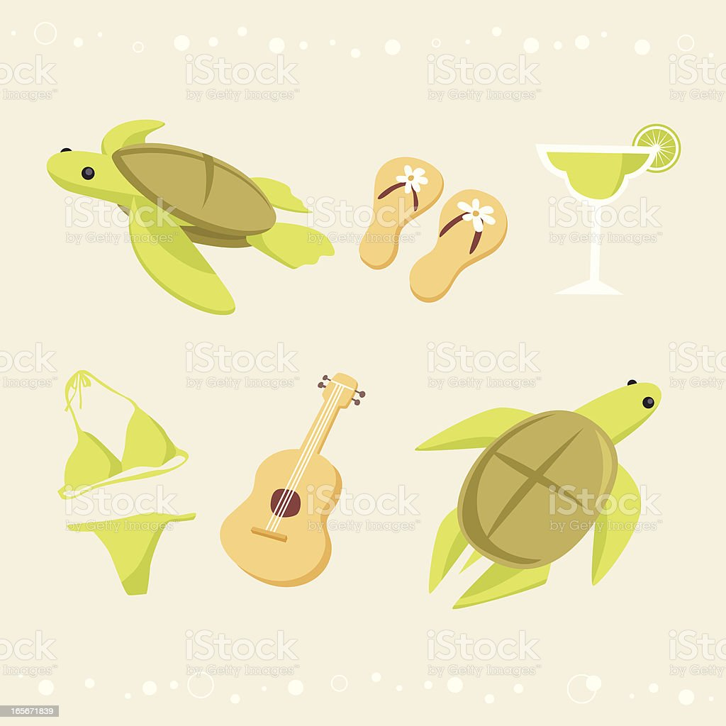 sea turtle vacation icons royalty-free stock vector art