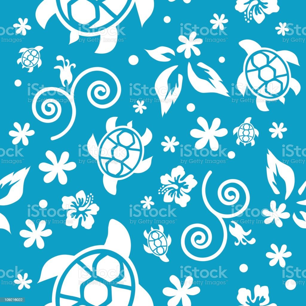Sea turtles and swirls background royalty-free stock vector art
