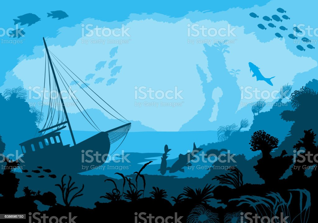 Sea underwater world with different animals vector art illustration