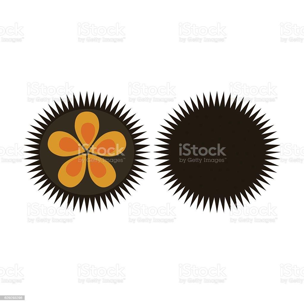 Sea urchin flat icon logo aquatic natural food vector illustration vector art illustration
