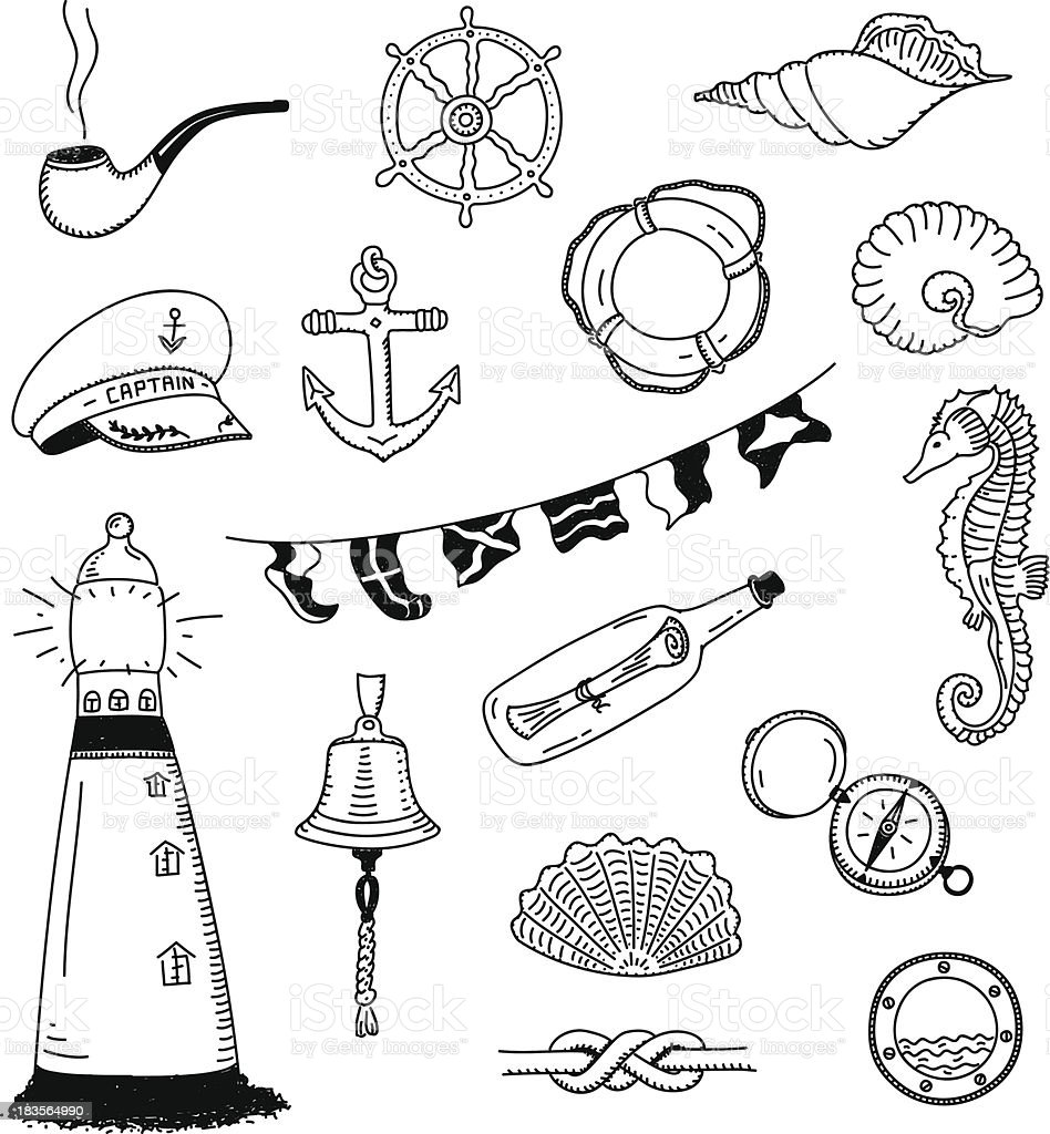 Sailor stock photos illustrations and vector art - Sea Vector Doodle Collection Royalty Free Stock Vector Art