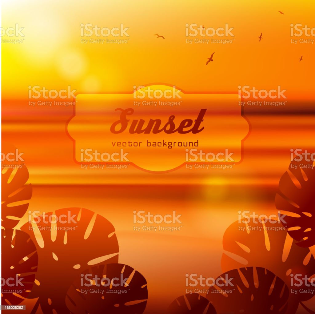 Sea view at sunset with big tropical leaves. royalty-free stock vector art