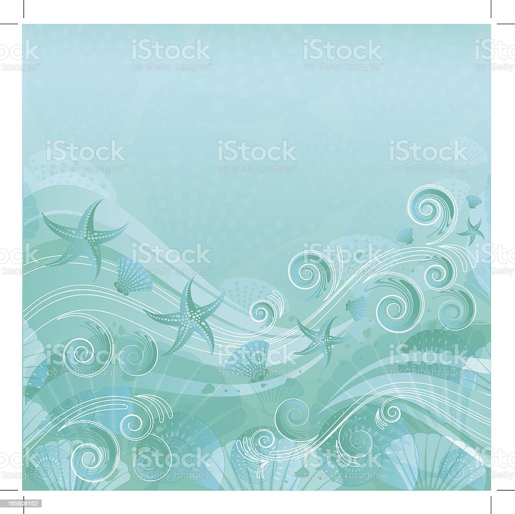 Sea Water Floral Background vector art illustration