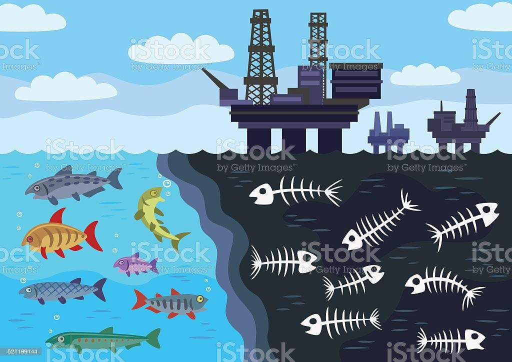 Sea water pollution by oil. vector art illustration