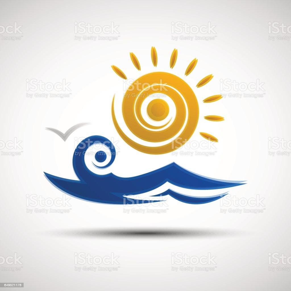Sea waves and sun logo design template vector art illustration