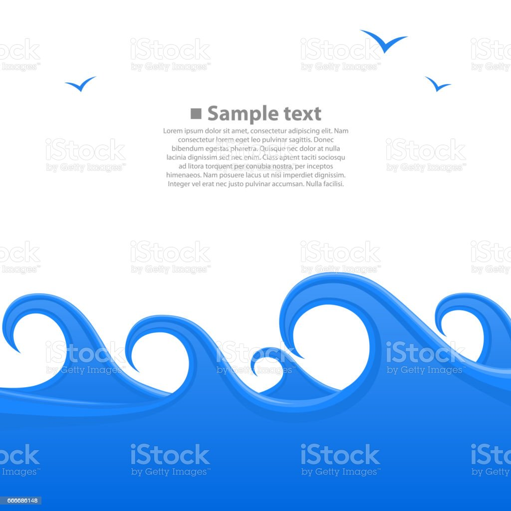 Sea waves cover, space for text white background, Vector illustration vector art illustration