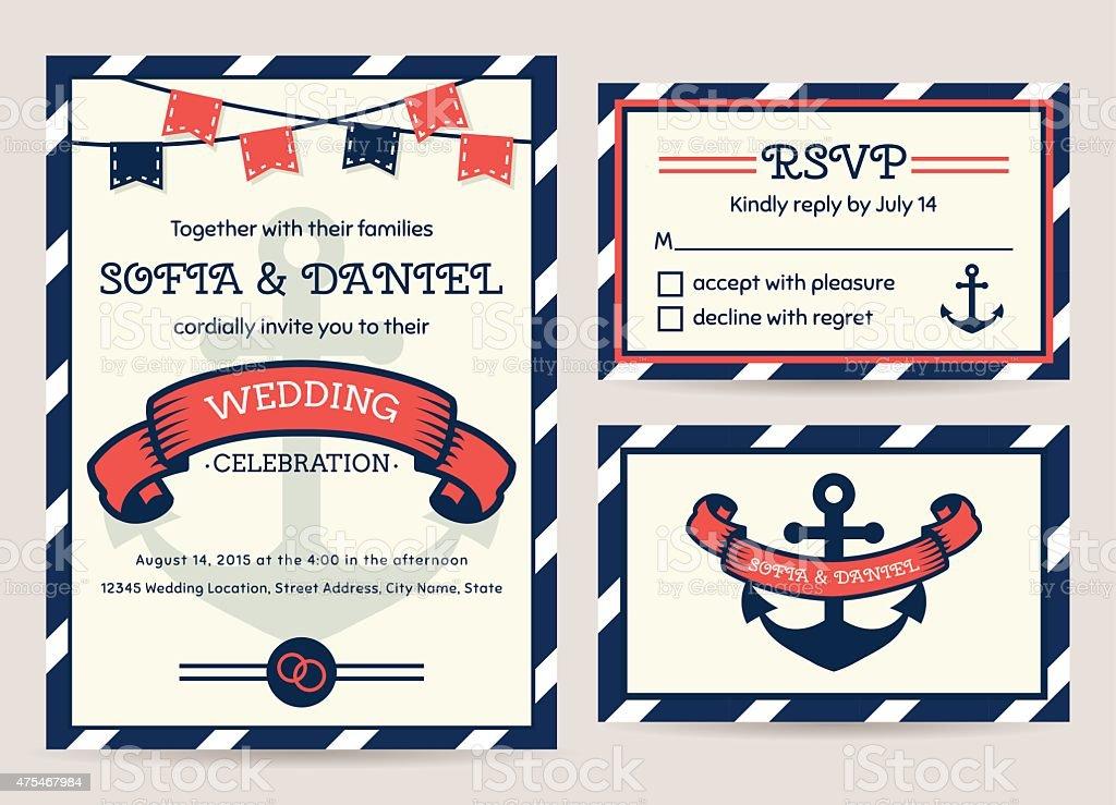 Sea wedding invitation. Vector templates. vector art illustration
