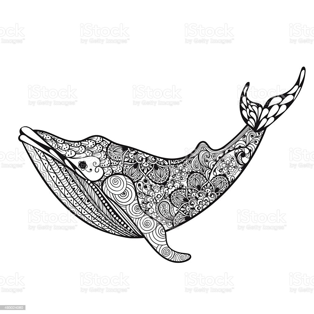 sea whale hand drawn vector illustration iso stock vector art