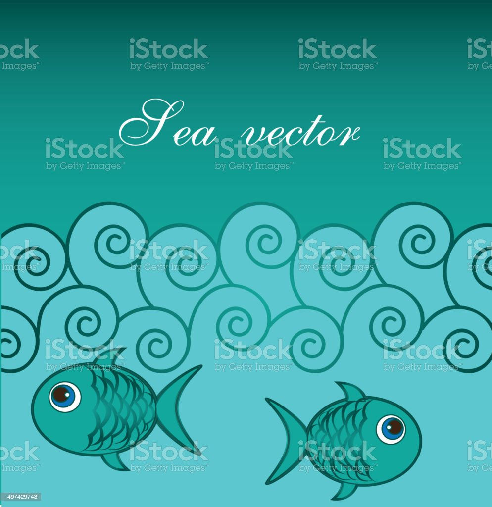 sea with fishes royalty-free stock vector art