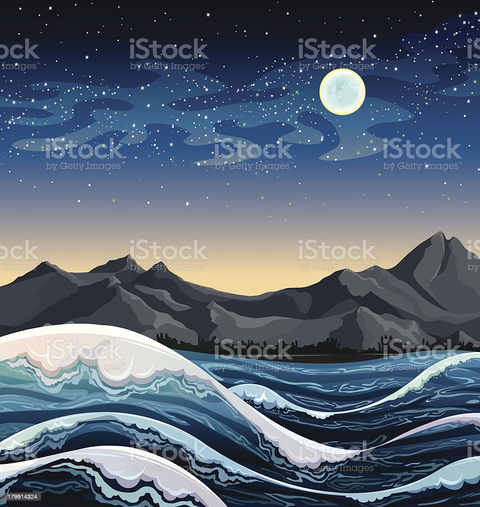 Sea with waves and night sky. royalty-free stock vector art