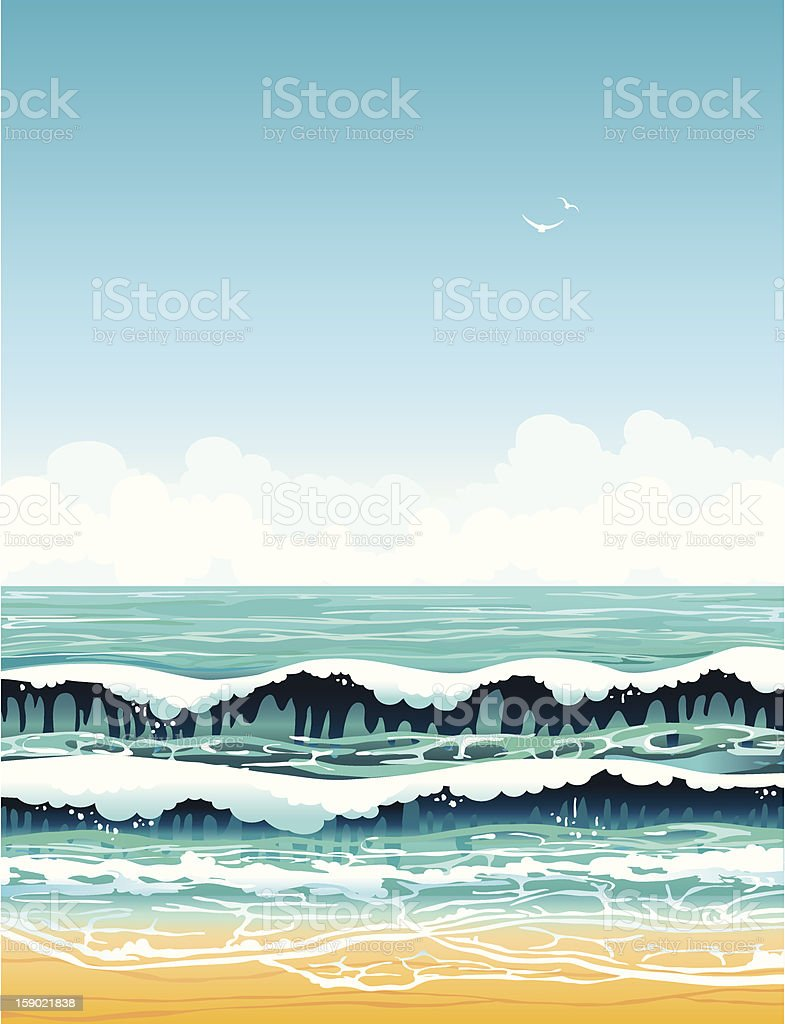 sea with waves and sandy beach on a blue sky royalty-free stock vector art