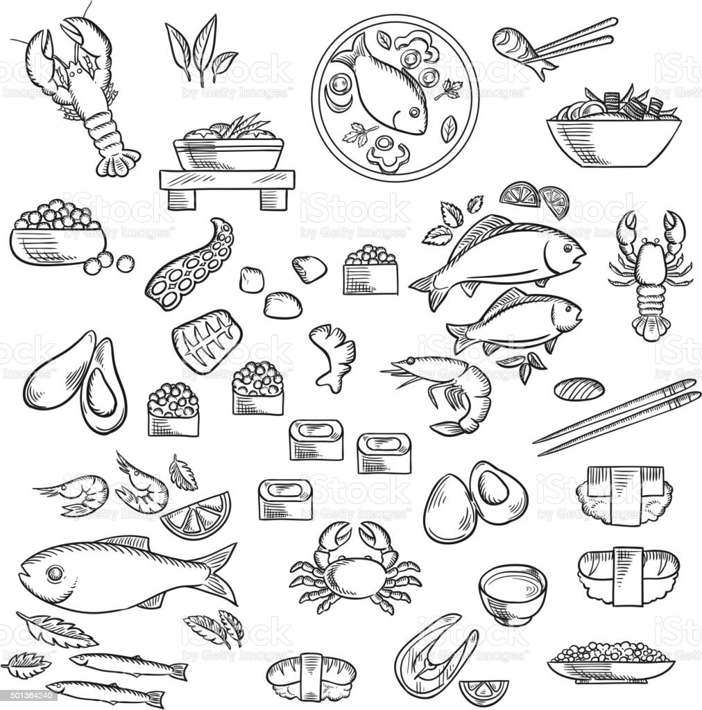 Seafood and delicatessen sketched icons vector art illustration