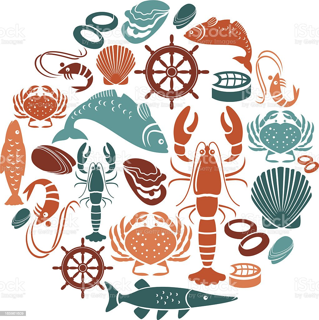 Seafood and Fish Icon Set vector art illustration